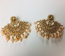 Pakistani Champagne Golden Earings, Indian Pearl Jewellery, Wedding Jewelry