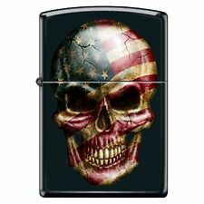 Zippo Custom Lighter American Flag Skull Face Black Matte Windproof Made in USA