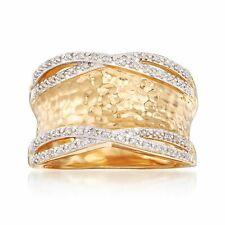 .13 CT Diamante Anillo Martillado T.W. en 18kt Amarillo Oro sobre plata esterlina