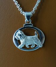 Small Sterling Silver Cairn Terrier Moving Study Pendant