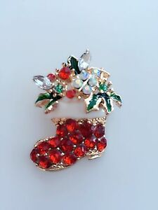 Women Mum Red Boots Shoes Crystal Rhinestone Christmas Xmas Brooch Pin Gift her