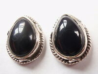 Black Onyx 925 Sterling Silver Stud Earrings with Rope Style Accents