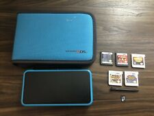 New Nintendo 2DS XL Black/Turquoise System 5 Games Case Charger & Stylus TESTED
