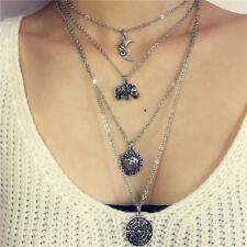 Women Charm Pendant Boho Black Leather Choker Necklace Moon Flower Elephant