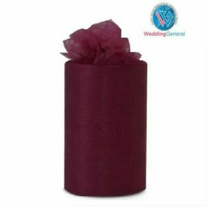 "WeddingGeneral's Tutu Tulle Roll 6"" W x25yds Soft Netting Craft Fabric Burgundy"