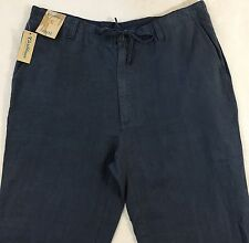 Men's CARIBBEAN Blue Gray 100% LINEN Casual Pants 38x32 38 32 NWT Beach $79.50
