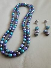 """Honora Sterling Silver Baroque Freshwater Cultured Pearl 36"""" Necklace & Earrings"""