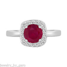 PLATINUM RUBY AND DIAMONDS ENGAGEMENT RING 1.23 CARAT HALO PAVE HANDMADE