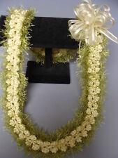 Hawaiian Rattail Eyelash Yarn Crochet Lei Pikaki ivory