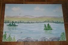 VINTAGE DRAGONFLY LANDSCAPE TREES WATER PRIMITIVE NAIVE FOLK ART OLD WC PAINTING