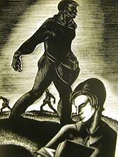 Lynd Ward 1930 FARM WORK v INTELLECT BOOKS - BOY READING Art Deco Print Matted