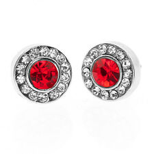 9mm Round Red Crystal with Accent Stones Earring Studs