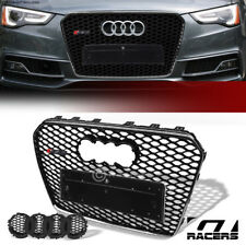 For 2013-2016 Audi A5 S5 Black Chrome Rs Honeycomb Mesh Front Hood Bumper Grille