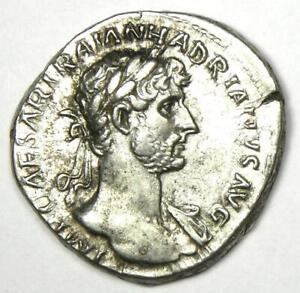 Ancient Roman Hadrian AR Denarius Coin 117-138 AD - Choice XF / AU