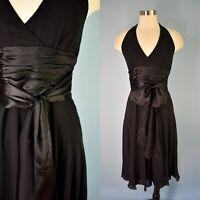 MAGGY LONDON Black Silk Crepe Satin Tie Belt Halter Cocktail Dress 4 Women's