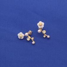 Ohrstecker Ohrring Blume Blumenranke Perlen weiß Sterling Silber 925 vergoldet