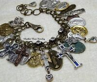 FULLY LOADED CATHOLIC-RELIGIOUS MEDALS-CRUCIFIXES COLLECTION CHARM BRACELET
