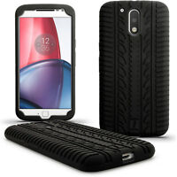 Black Tyre Silicone Gel Skin Case for Motorola Moto G 4 Gen 2016 & G4 Plus Cover