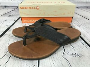 MERRELL Lidia Black Leather Thong Sandals Shoes Women's Size 9 / 40 J46304