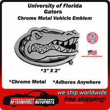 University of Florida Gators Chrome Metal Car Auto Emblem Decal Ships Fast