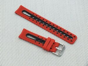Soft Silicone Sports / Divers Quick Release Watch Strap 20mm Red & Black