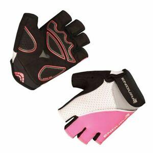 Endura Womens Xtract Mitt Cycling Gloves Summer Lightweight Black/White/Pink LRG