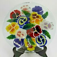 """PEGGY KARR FUSED ART GLASS BOWL DISH 8"""" FLOWERS RED BLUE YELLOW GREEN WHITE CARR"""