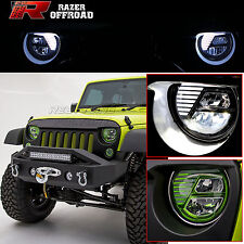 Rock Crawler GREEN LED Headlight DRL+Hi+Lo Beam+Cree for 07-17 Jeep JK Wrangler