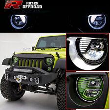 07-17 Jeep JK Wrangler Rock Crawler GREEN LED Headlight DRL+Hi+Lo Beam+Cree LEDs