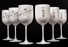 MC Moet Chandon Ice Imperial White Acrylic Champagne Glass Goblet Set x 6!