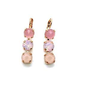 Mariana Earrings Triple Tier Rose Quartz Mineral & Pinks Austrian Crystals My...