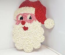 """15"""" Vintage Melted Plastic Popcorn Santa Face"""