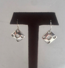 Sterling Silver Cutout Square Earrings Unworn Vintage Robert Lee Morris