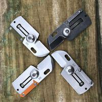 D2 Blad Mini Pocket Knife Dog Tag EDC Tools Survival Camping Folding Keychain