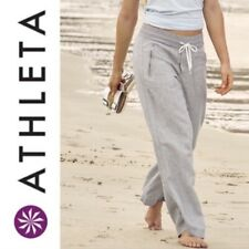 ATHLETA Cabo Women's Linen Wide Leg Elastic Waist Drawstring Relax Grey Pants