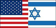 3x6 inch Dual USA ISRAEL Flag Sticker - decal israeli jewish american support us