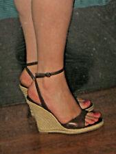 MICHAEL SHANNON Brown Leather Wegde Platform Criss-Cross Ankle Strap Shoes 7M