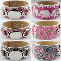 Personalized Monogram Disc Blank Leather Wrap Bracelets Bangles Flamingo Pattern