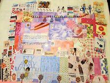 junk journal, scrapbooking supplies, over 100 pink & blue items