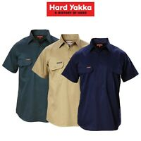 Mens Hard Yakka Short Sleeve Closed Front Cotton Work Safety Collar Shirt Y07540