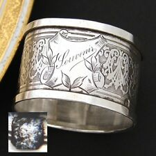 """Antique French Sterling Silver Napkin Ring, """"Souvenir"""", Guilloche Style"""