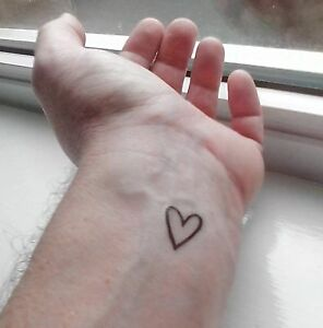 Heart Temporary Tattoos for Wrist, Hand drawn outline Valentine Love Heart, 6 of