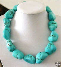 grand vert irrégulier turquoise perle collier 43cm