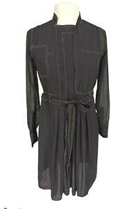 Simply Vera Wang Black Snap Up Shift Mini Dress Women Sz S See Through Sheer Top