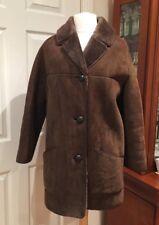 Ladies Vintage Quality Sheepskin Brown Coat , Size 36