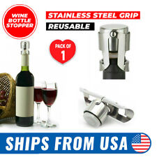 Stainless Steel Reusable Vacuum Sealed Champagne Wine Bottle Stopper Cap USA