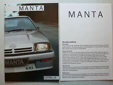 Prospekt Opel Manta GT und GSi mit 6 Seiten Grundausstattung, 8.1984, 22 Seiten