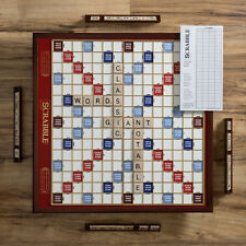 Scrabble Giant Deluxe Wooden Edition Rotating Wood Turntable Word Board Game New