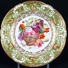 Antique Rockingham Hand-Painted Botanical Plates, England