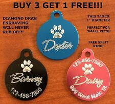 Custom Engraved Paw Print Pet Tag Dog Cat ID SMALL PET (Choose from 10 Colors)